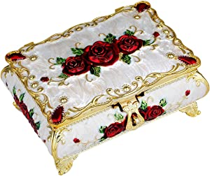SUNYIK Vintage Enameled Rectangular Decorative Collectible Jewelry Trinket Box for Women,White with Red Rose Flower