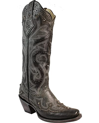 Women's Laser Cut Out Pattern Western Boot Square Toe - G1313
