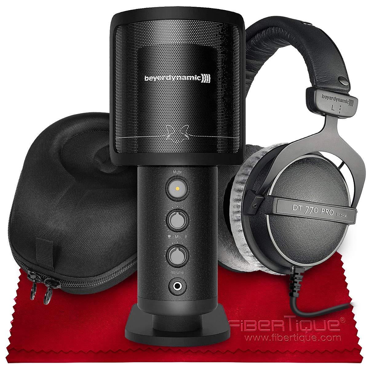 Beyerdynamic Fox Micrófono de estudio USB profesional con auriculares Beyerdynamic DT770 Pro de 80 ohmios y paquete de a