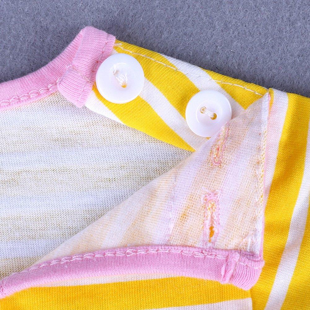 Yiding Girl Short Sleeve Dress Cartoon Pattern Printing Round Neck Princess Skirt
