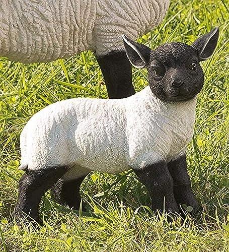 Plow Hearth 54050 Standing Lamb Suffolk Sheep Resin Garden Stat