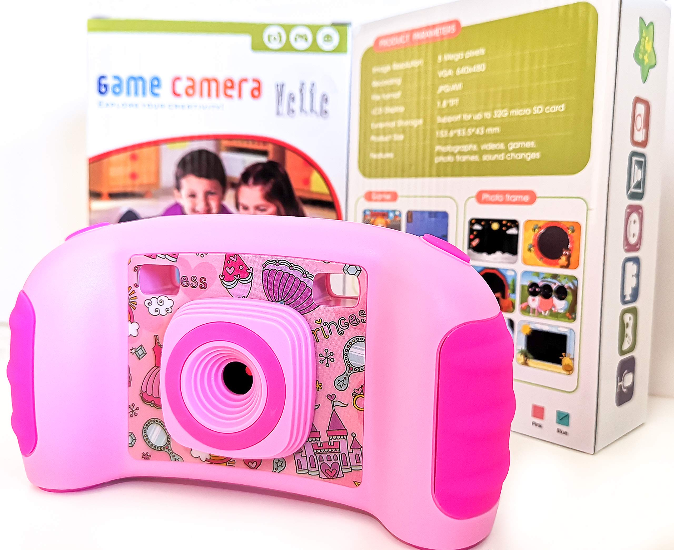 Vetté Digital Camera for Kids with 16GB MicroSD Card - Multifunctional Kids Camera - 2X Zoom, 720 HD Video Quality, 1.8 TFT LCD Screen,Games, Frames, Photo Editing and Voice Recorder Camera (Pink) by Vetté (Image #8)