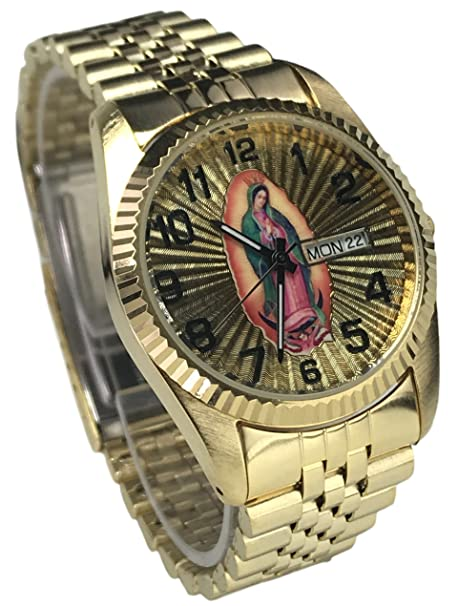 Amazon.com: Reloj De Hombre Swanson Japan Watch Mens Day-Date Con La Virgen de Guadalupe & Numeros Grandes New Water Résistant: Watches
