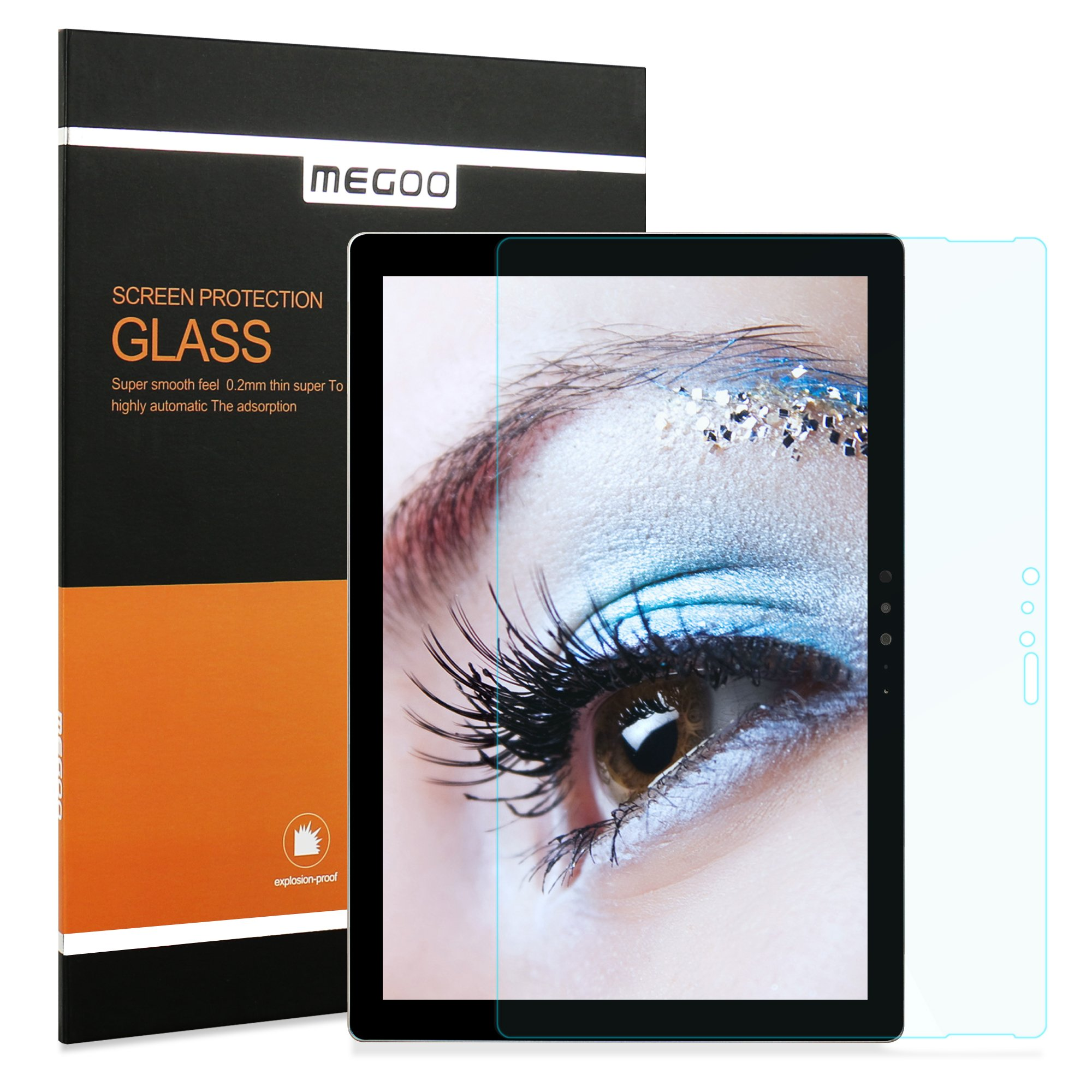 Surface Pro 4 Screen Protector/New Surface Pro (2017), Megoo [Blue Light UV Filter], Premium High Definition Tempered Glass, Reduces Eye Fatigue and Eye Strain, Anti Fingerprint