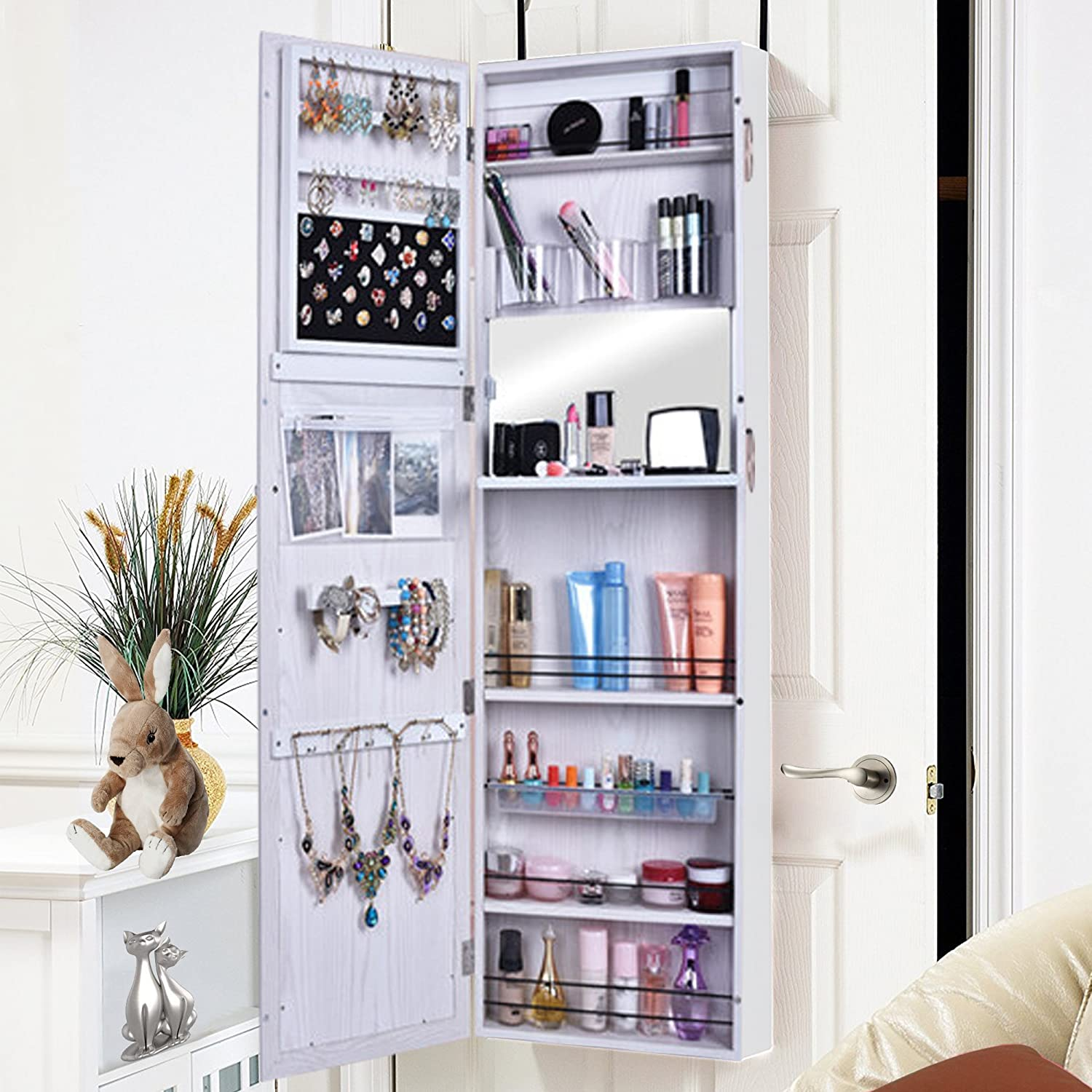 Shelving Solutions Jewelry Cabinet Armoire Mirrored Jewelry Armoire Door  Wall Mounted (White2)