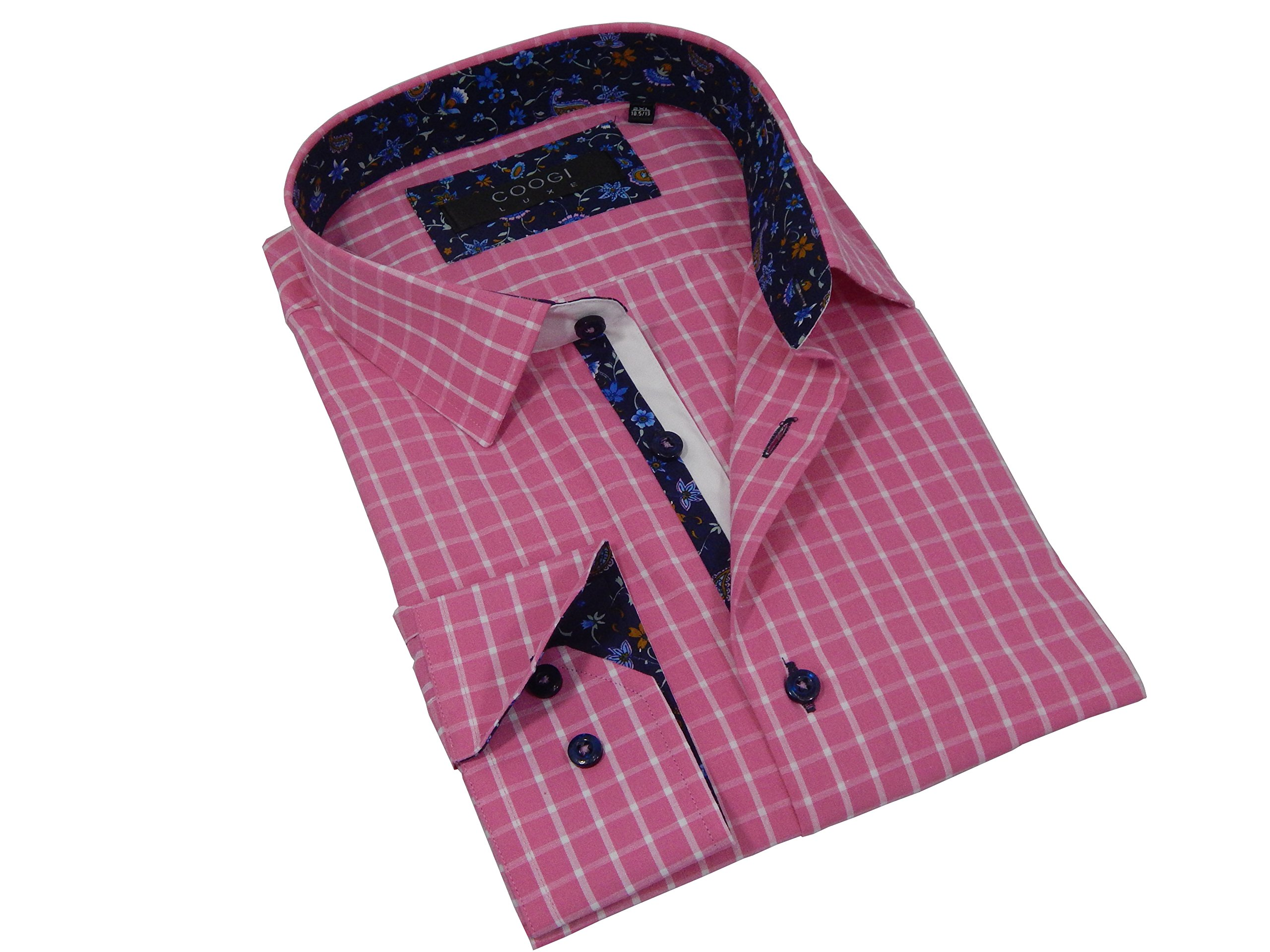 Coogi Luxe Men's Fine Cut Long Sleeve Tailored Fit Button Down Checkered Dress Shirt