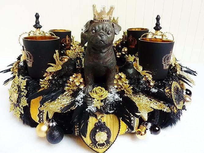 Adventskranz Kronprinzen Tischdeko Mops Luxus Schwarz Gold Kronen