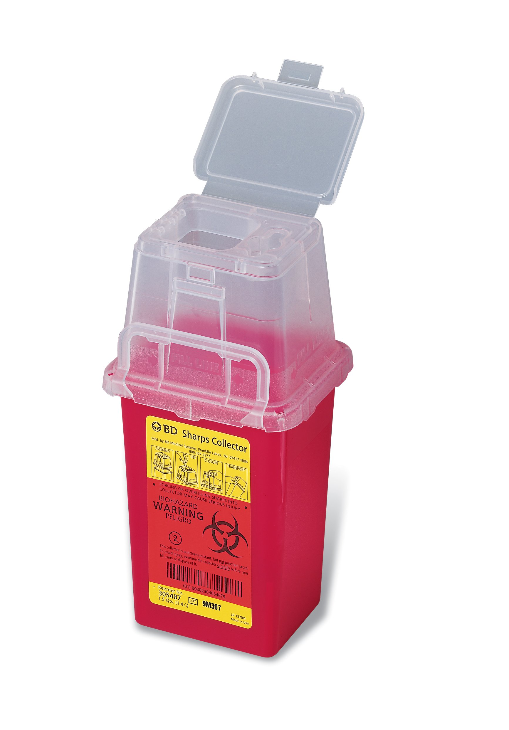 BD Medical Systems 305487 Nestable Sharps Collector, Natural Top with Dual Access, 9'' x 4.5'' x 4'' Size, Red (Pack of 36) by BD Medical Systems (Image #1)