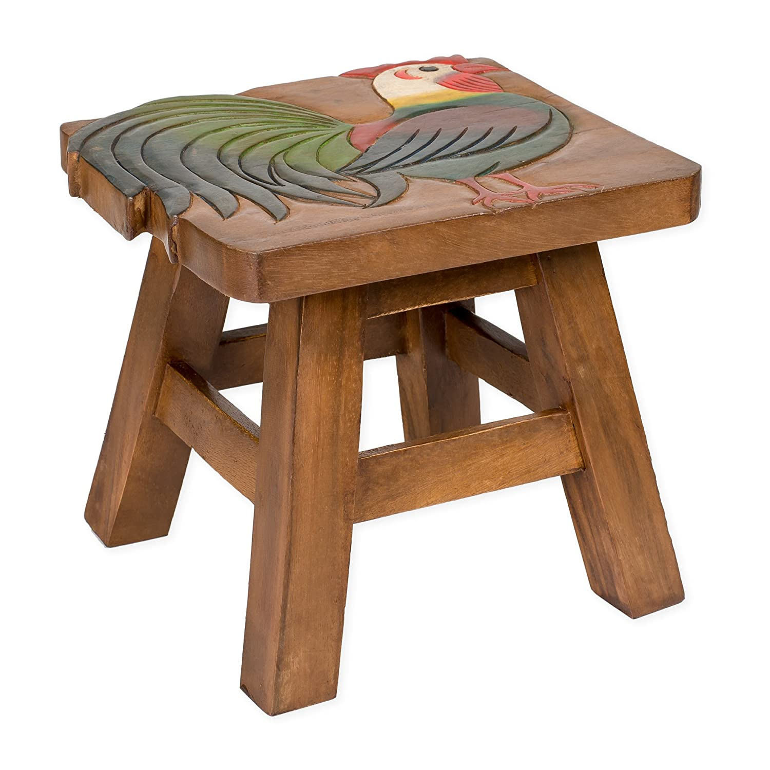 Rooster Design Hand Carved Acacia Hardwood Decorative Short Stool Sea Island