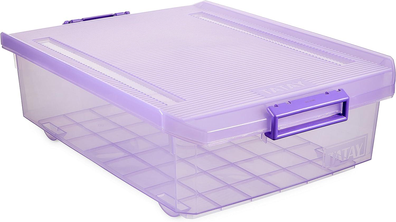 Tatay 1151213 Caja de Almacenamiento Multiusos Bajo Cama con Tapa, 32 l de Capacidad, Plástico Polipropileno Libre de BPA, Lila Translúcido, 40 x 56 x 17,5 cm: Amazon.es: Hogar