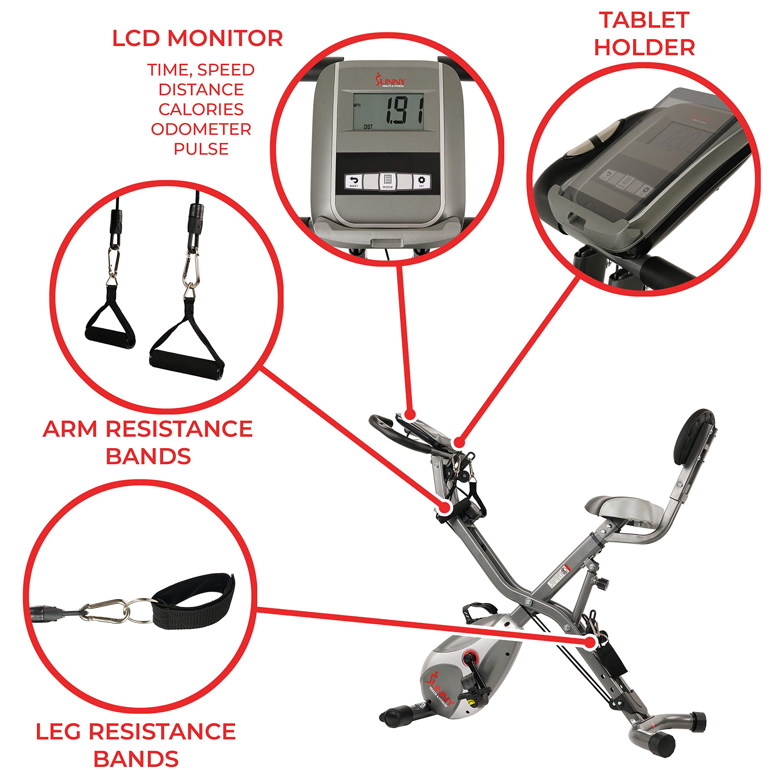 Sunny Health & Fitness Foldable Semi Recumbent Magnetic Upright Exercise Bike w/Pulse Rate Monitoring, Adjustable Arm Resistance Bands and LCD Monitor - SF-B2710 by Sunny Health & Fitness (Image #4)