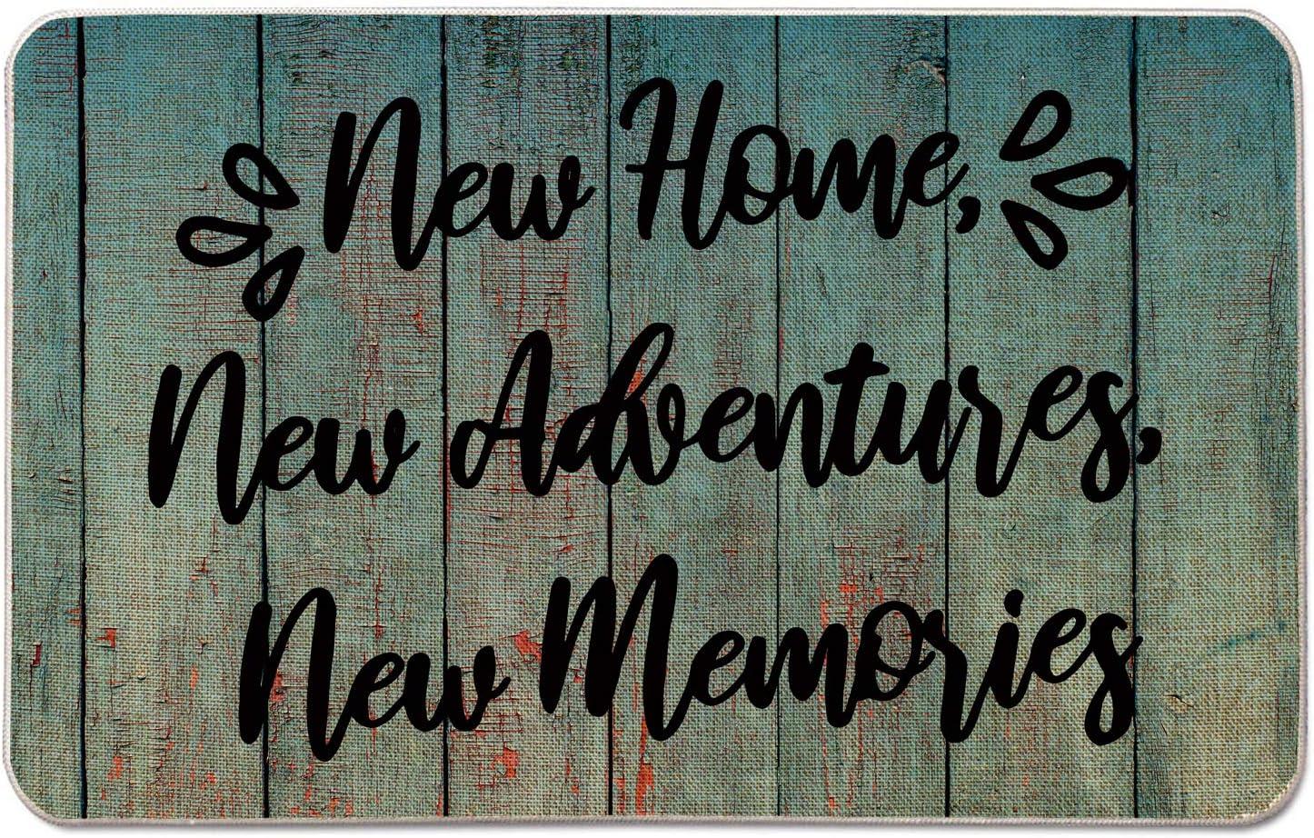 Occdesign Housewarming Welcome Doormat for Front Door Farmhouse Rustic Decorative Entryway Outdoor Floor Doormat Durable Burlap Outdoor Rug | New Home New Adventures New Memories