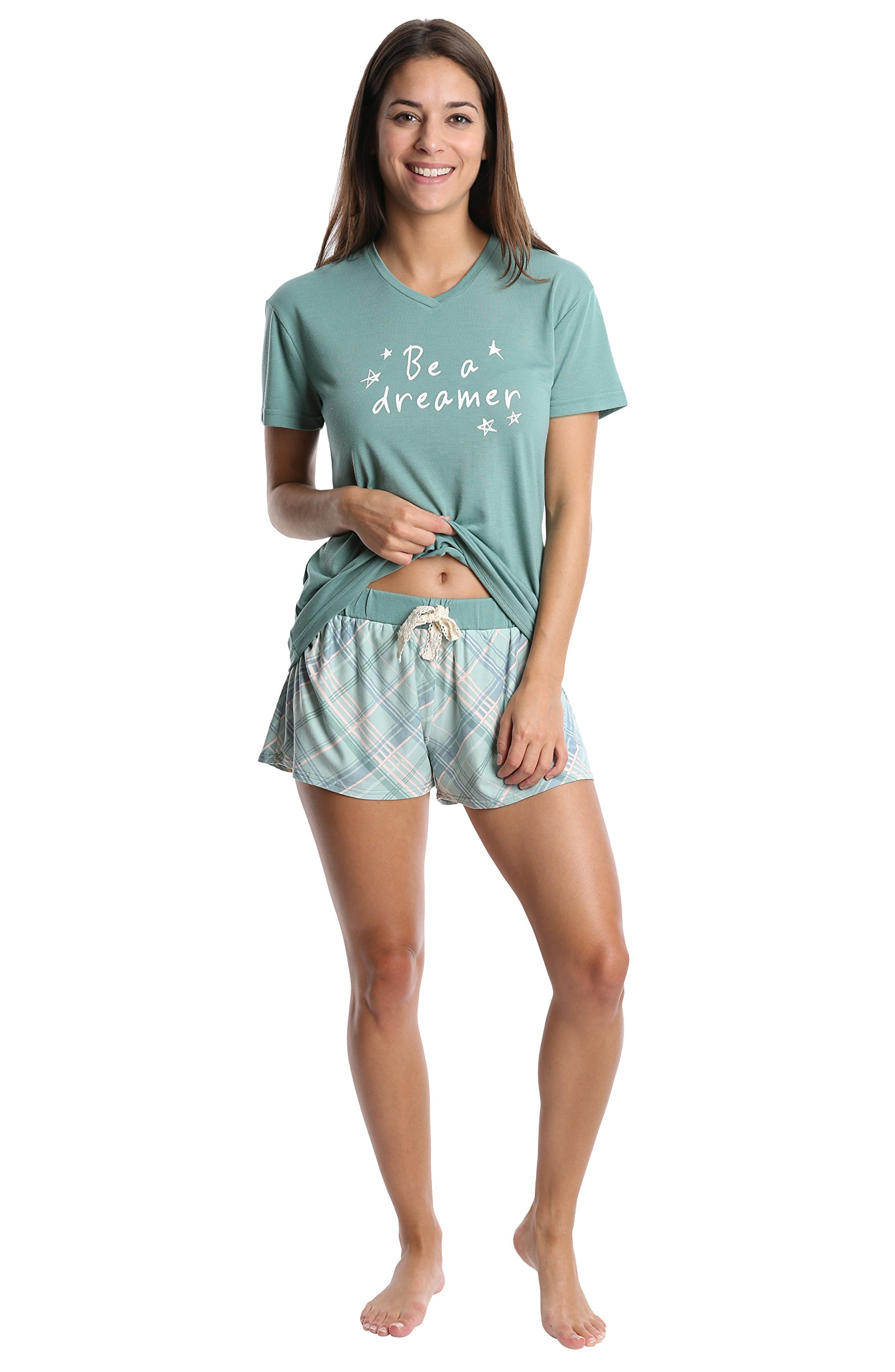 WallFlower Women's V Neck Graphic T-Shirt w/Poly Suede Sleep Short Pajama Set