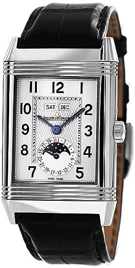 Jaeger LeCoultre Grande Reverso calendario Plata Dial Negro Cuero Mens Reloj Q3758420