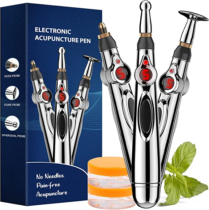 Acupuncture Pen, Electronic Acupuncture Pen for Pain Relief Therapy, Powerful Meridian Energy Pen Relief Pain Tools 1 x AA Battery (Not Included) (3 Heads)