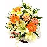 HanaDokoroかんも屋特製 『笑み花』 フラワーアレンジ フラワーギフト オレンジ系 手書きメッセージカード 女性へのプレゼントに人気 気持ちが明るくなる色