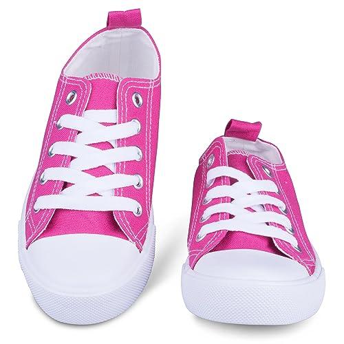 Las niñas Lienzo Zapatillas Deportivas – Classic Cordones Zapatillas de Tenis, Niños & Little Kid