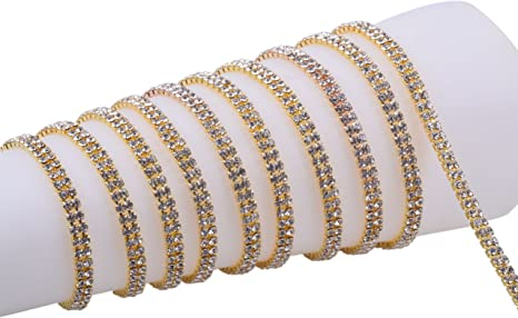 BENECREAT 2 Rows 2 Yards Gold Crystal Rhinestone Close Chain Trim 6mm Rhinestone Cup Chain for Craft Making and Wedding Party Favor Decoration