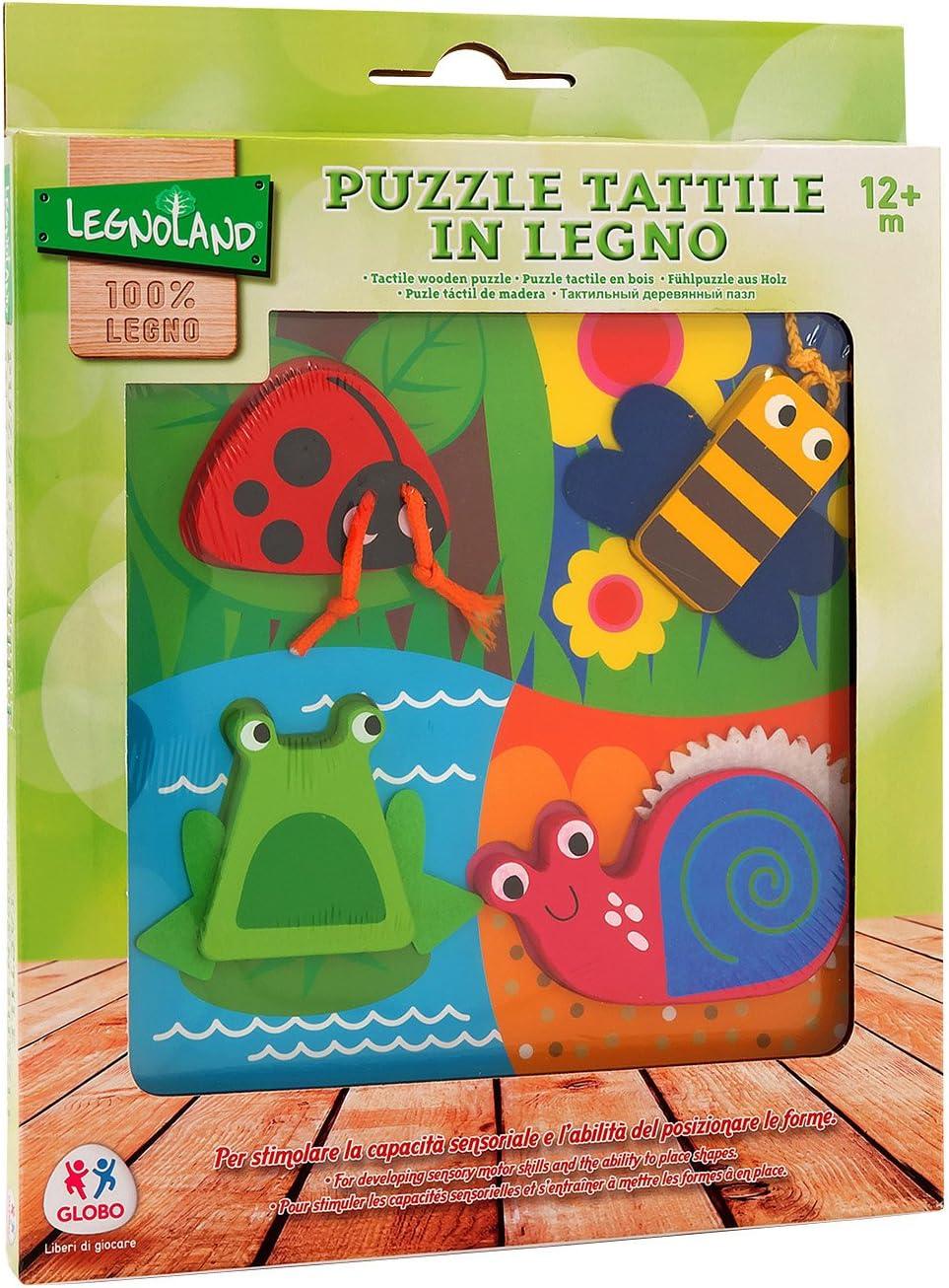 20 x 20 x 1.7 cm Globo 37762 Legnoland Wooden Puzzle with Fabric Multi-Color