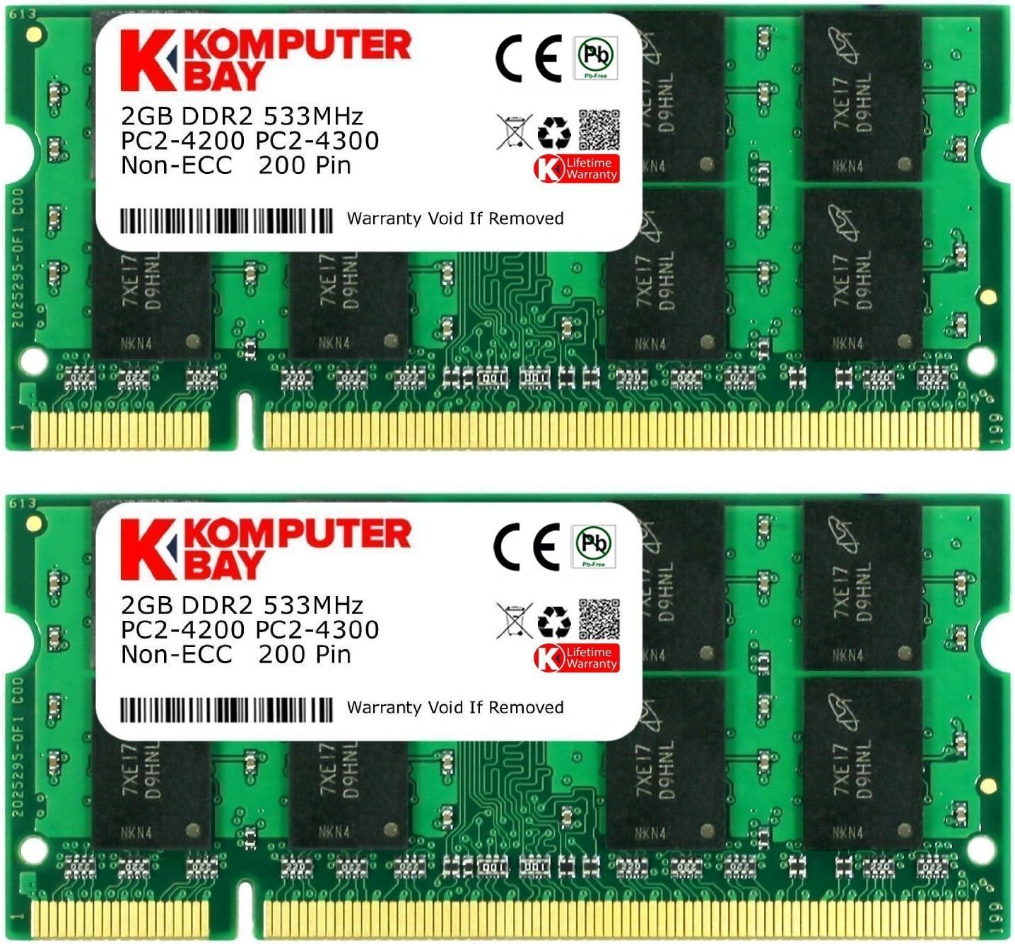 KOMPUTERBAY 4GB 2X 2GB DDR2 533MHz PC2-4200 PC2-4300 DDR2 533 (200 PIN) SODIMM Laptop Memory