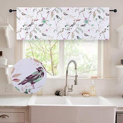 Amazon.com & HOLKING Bird Pattern Kitchen Valances for Windows-Blackout Window Valances for Bedroom/Living Room/Bathroom Rod Pocket Valance Curtains 52 Inch Wide ...