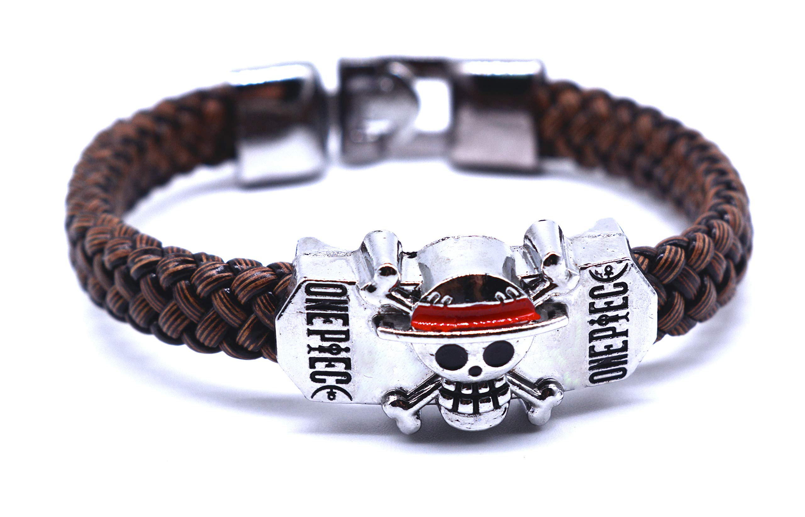 CoolChange One Piece plaited bracelet with Straw Hat pirate crew Jolly Roger