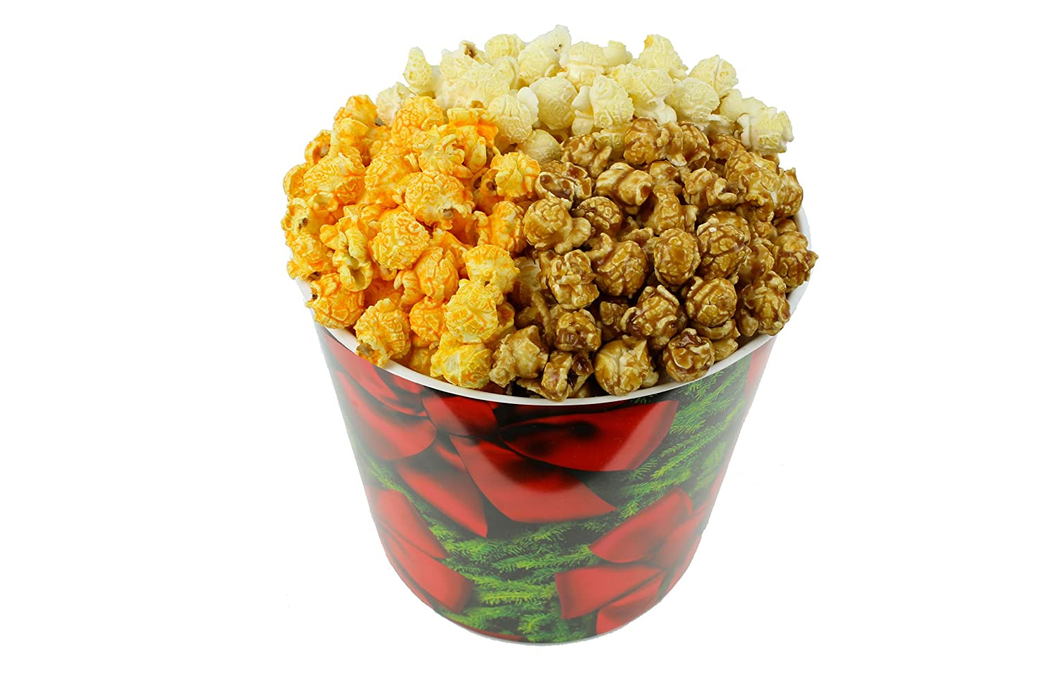 Signature Popcorn, 1-Gallon Holidays Red Bow Reusable Plastic Tin - Butter, Caramel and Cheddar Cheese