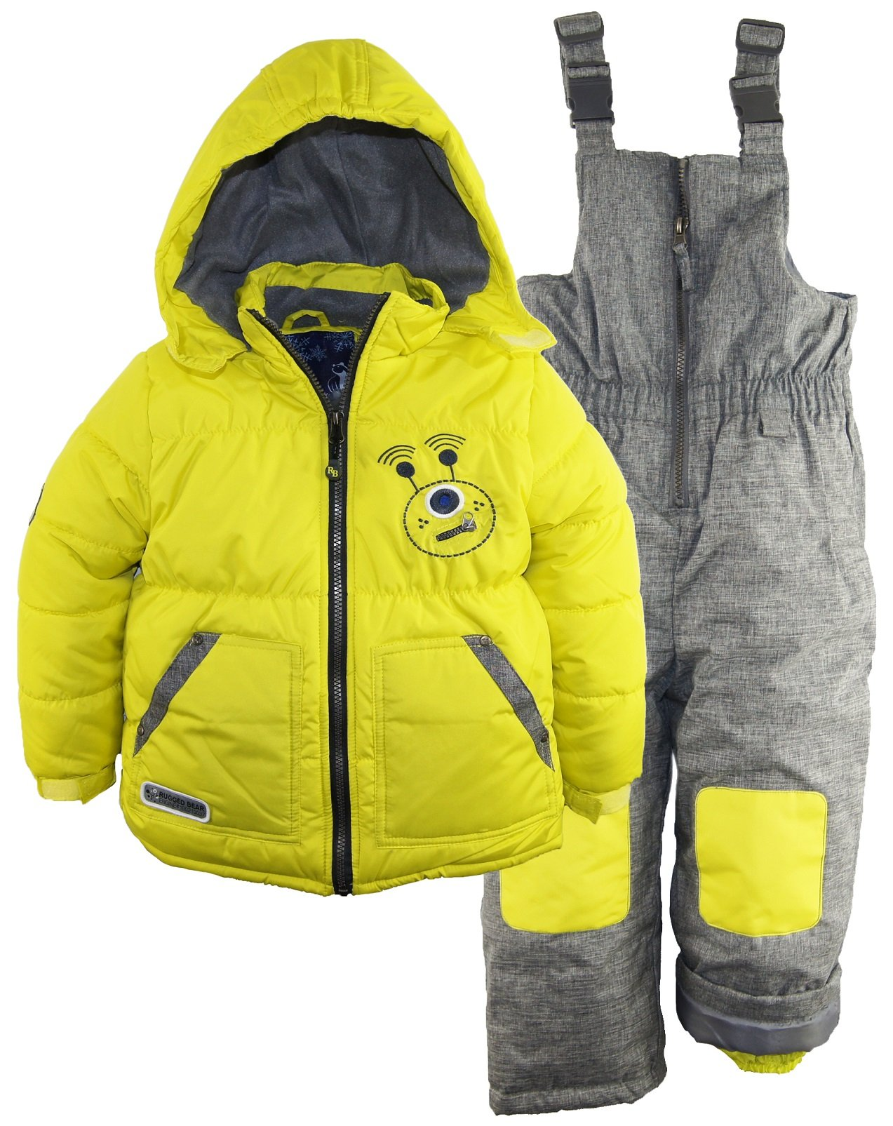 Rugged Bear Little Boys' Robot Winter 2 Piece Snowsuit Ski Bib Pant Set., Acid, 2T