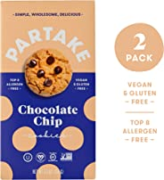 Partake Crunchy Cookies - Chocolate Chip | 2 Boxes | Vegan & Gluten Free | Free of Top 8 Allergens - Dairy, Peanuts, Tree Nut