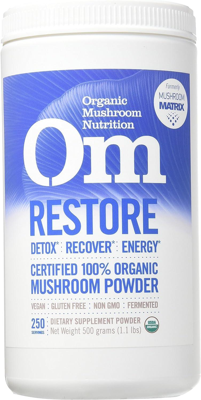 Om Organic Mushroom Nutrition Supplement, Restore Detox, Recovery, Energy, 250 servings, 1.1lbs, 500 Gram
