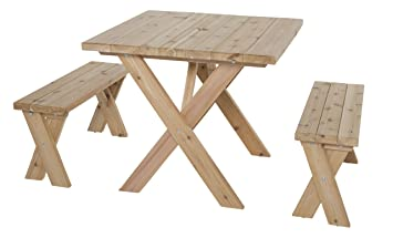 Wooden Picnic Table   American Cross Leg Outdoor Dining Set With 2 Benches,  Umbrella Hole