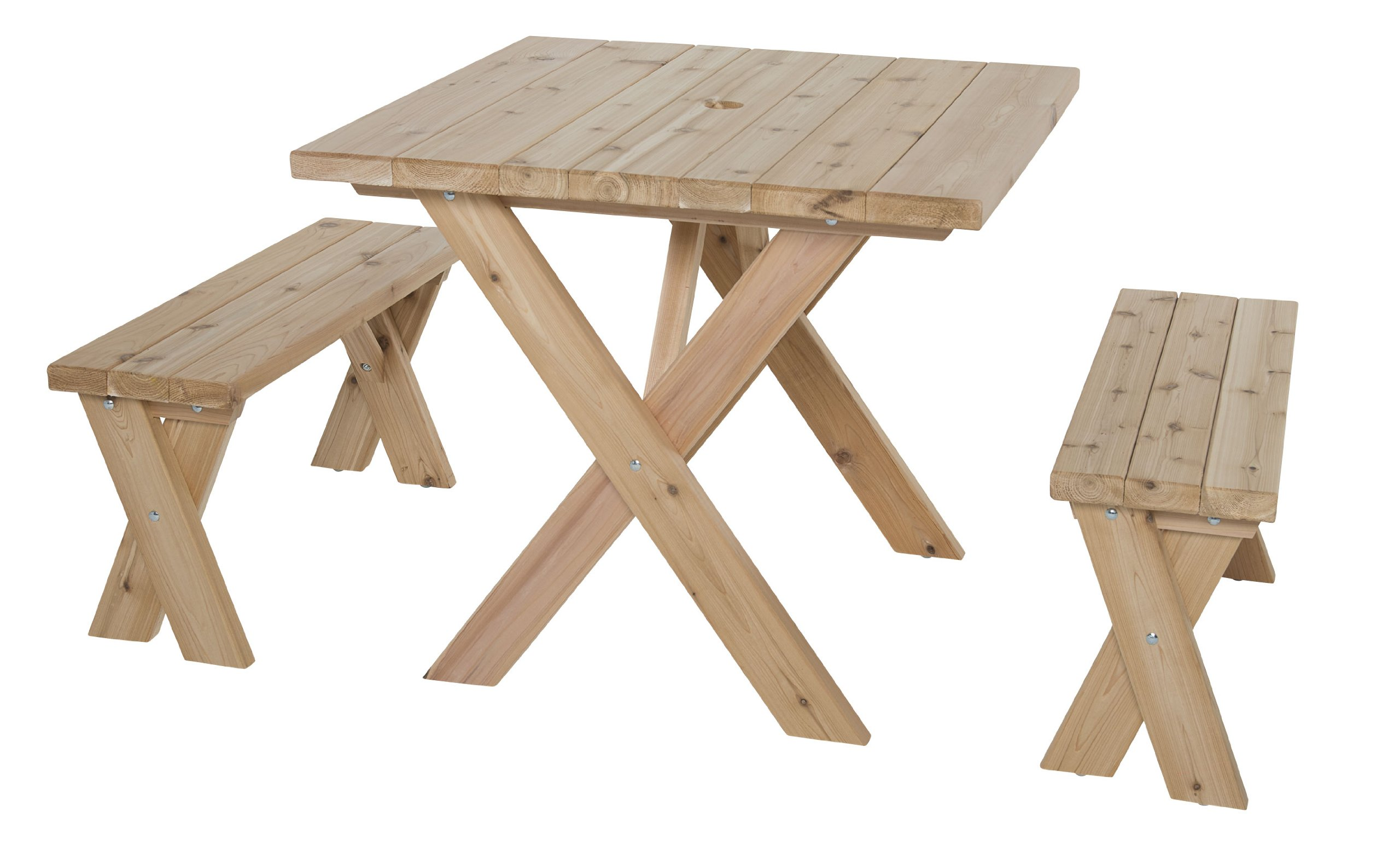 Wooden Picnic Table - American Cross Leg Outdoor Dining Set with 2 Benches, Umbrella Hole - Rectangular 35.5 x 34.5 x 30