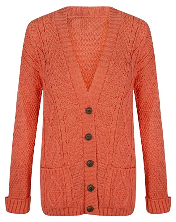 e18c8f020 mak5 Womens Ladies Long Sleeve Chunky Aran Button Cable Knitted ...