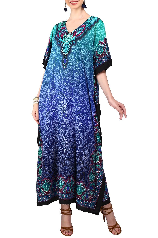 Miss Lavish London Donne Kaftan Tunica Kimono Libero Formato Lungo Maxi Partito Vestito per Loungewear Vacanze Pigiama Spiaggia di Tutti i Giorni Coprire i Vestiti #103