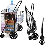 MOD Complete MDC77037 Double Basket Flat Folding Shopping Cart with Swivel Wheels, Black