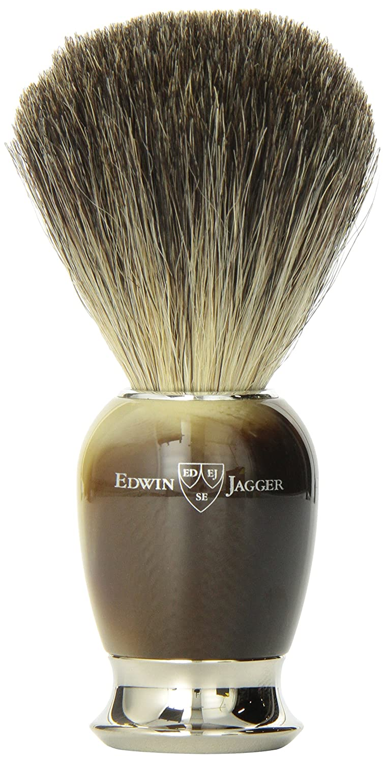 Edwin Jagger Imitation Horn Pure Badger Hair Shaving Brush with Nickel Plated Collar And End Cap 81SB582AMZ