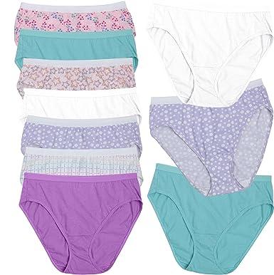 bca8069eba3 Fruit of the Loom Women s 10 Pack Hi-Cut Plus Size Panties (Assorted ...