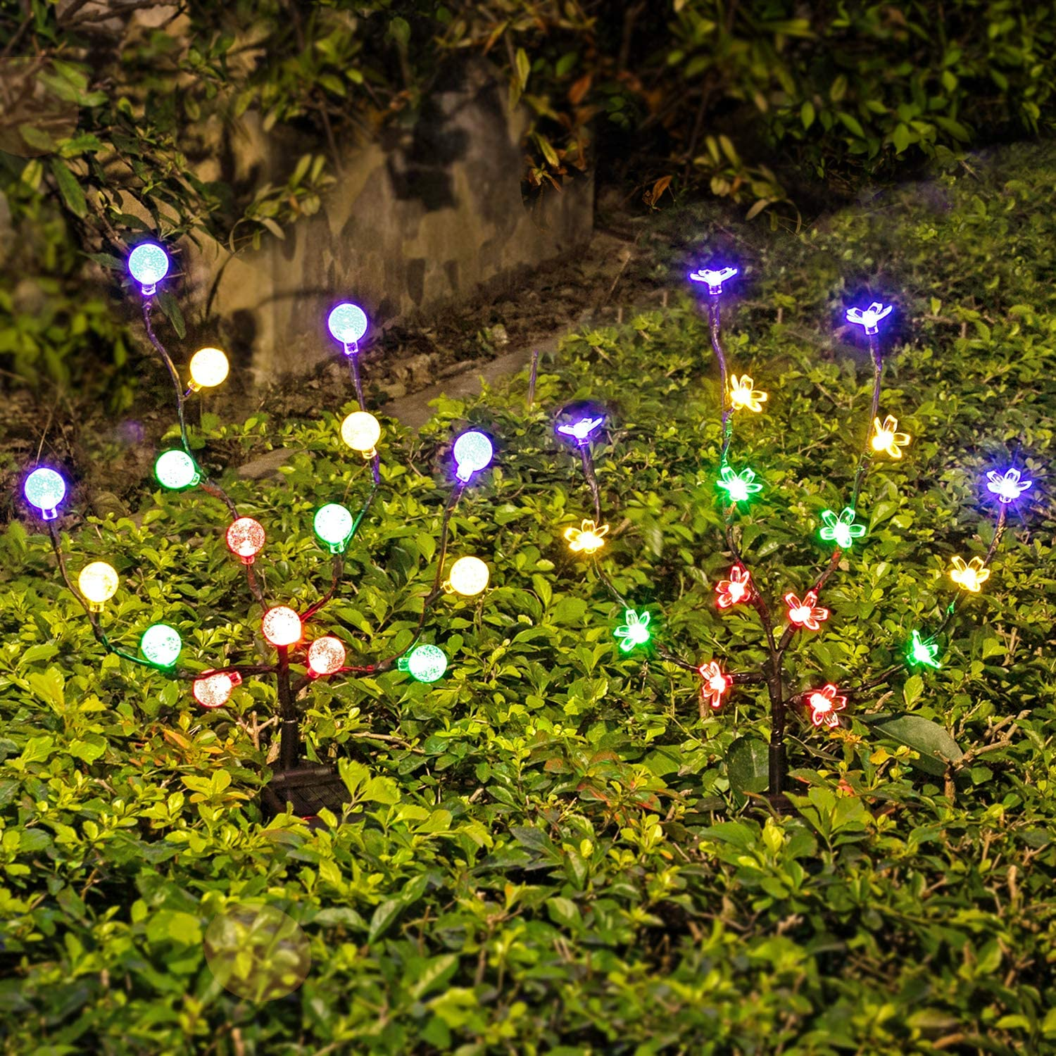 Solar Lights Outdoor - New Upgraded LED Solar Garden Lights, 2 Pack Solar Stake Lights Waterproof Colored Fairy Landscape Tree Lighting for Yard, Patio, Garden, Holiday Decoration (16 LED)