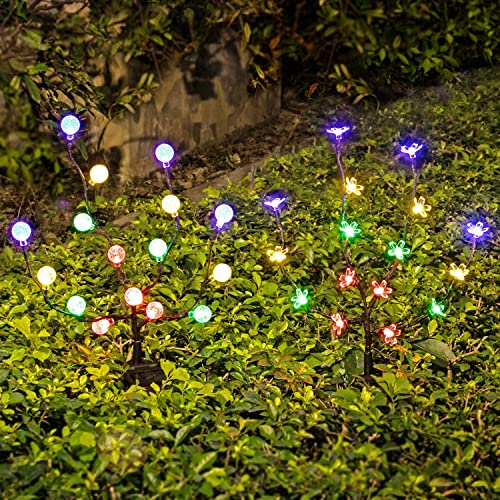 Solar Lights Outdoor – New Upgraded LED Solar Garden Lights, 2 Pack Solar Stake Lights Waterproof Colored Fairy Landscape Tree Lighting for Yard, Patio, Garden, Holiday Decoration 16 LED