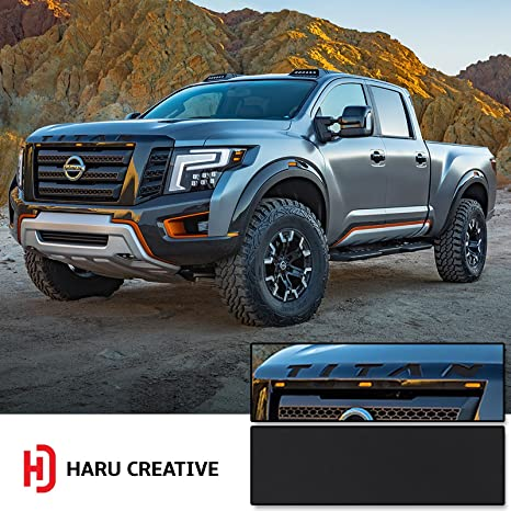 Haru Creative - Front Hood Grille Emblem Letter Insert Overlay Vinyl Decal  Stickers Compatible with and Fits Nissan Titan XD 2016 2017 2018 - Matte