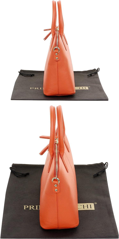 Primo Sacchi® Italienische handgefertigte Handtasche aus strukturiertem Leder im Bowling-Stil. Dunkler Orange