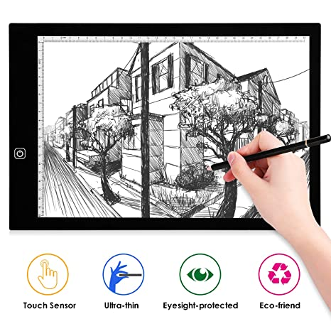 AGM - Tableta Luminosa A3, luz LED, Ultrafina, Brillo Ajustable, Cable USB, Control táctil, Almohadilla de Copia, Dibujo, Tablet, Esbozo, Arquitectura ...
