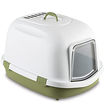 Stefanplast 4-96872 WC Gatos Super Queen, 55 x 71 x 46.5 cm, Color Blanco y Verde: Amazon.es: Productos para mascotas