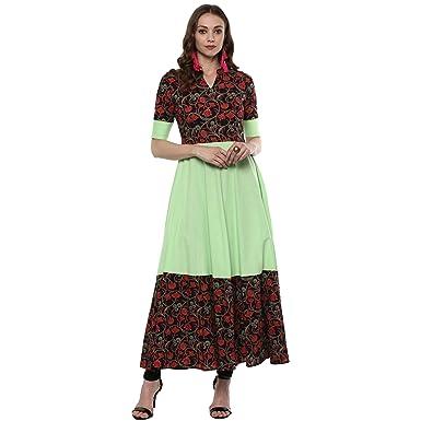 013a96a78d Amazon.com: Indian Virasat Kurtis Ethnic Women Kurta Kurti Tunic  Multicolouredl Print Top Dress New Casual Wear: Clothing