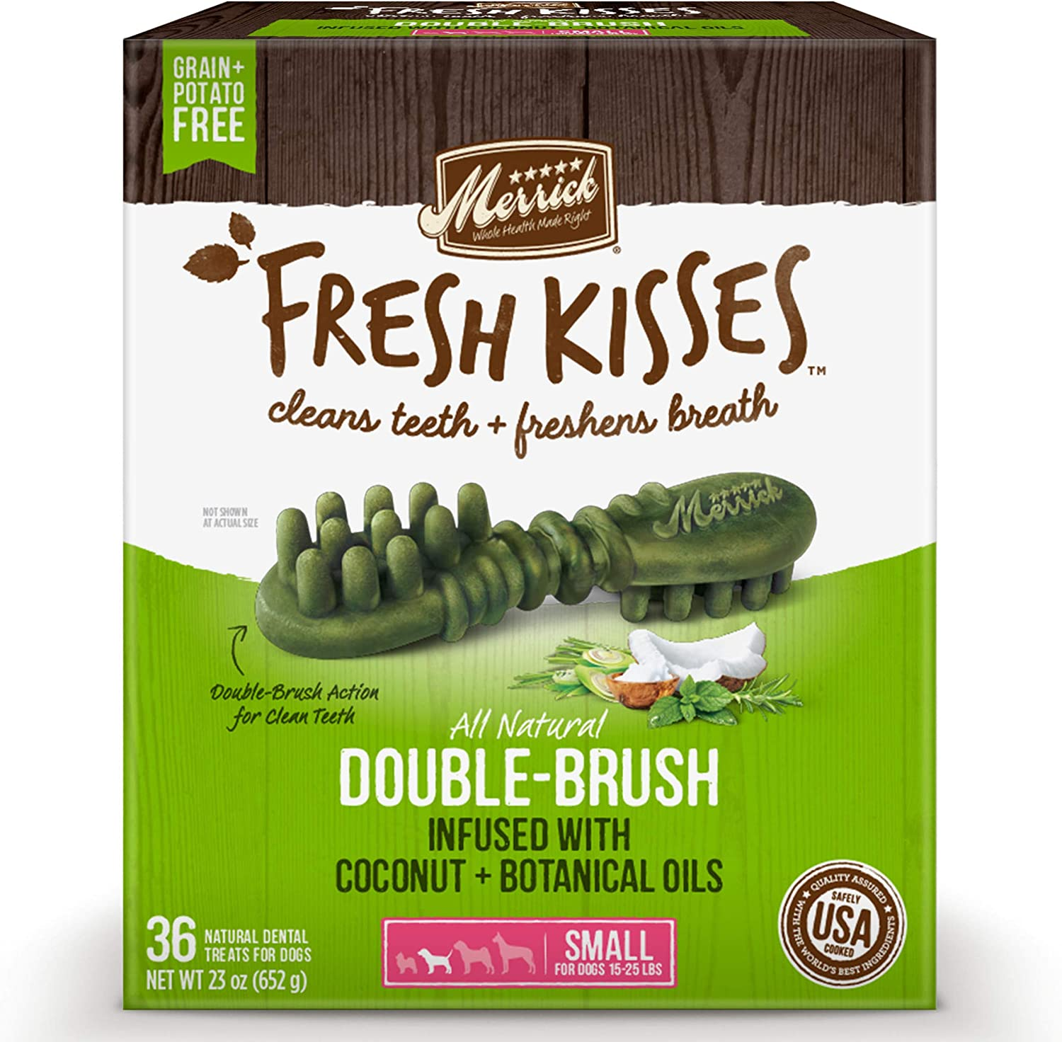 Merrick Fresh Kisses Oral Care Dental Dog Treats for Small Dogs 15-25 lbs