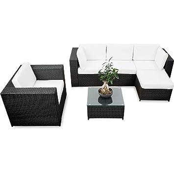 Lounge Set Polyrattan Kaufen   Schwarz   Sitzgruppe Garnitur Gartenmöbel  Rattan