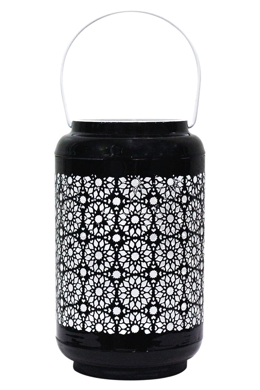 Lanternes pour bougie Petite Lanterne marocaine en m/étal Balram 24cm noir Photophore marocain pour lext/érieur au jardin ou lint/érieur sur la table d/écoration de maison orientale