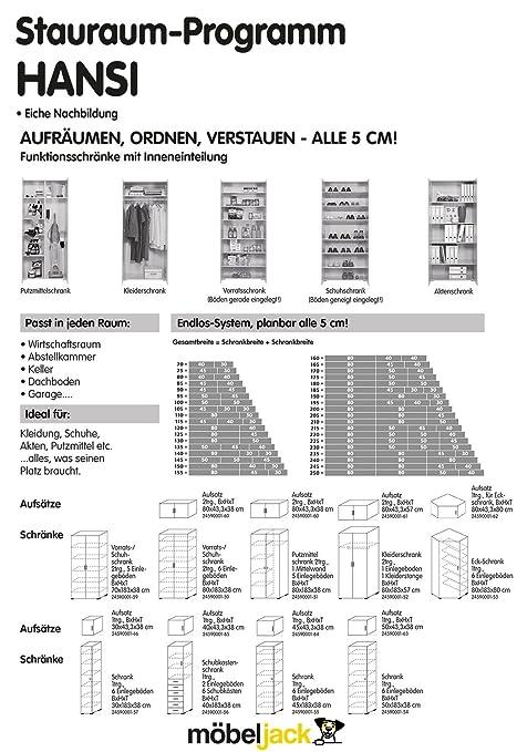 Schrank-Aufsatz HANSI 64, B 45 x H 43 cm, Eiche Dekor: Amazon.de ...