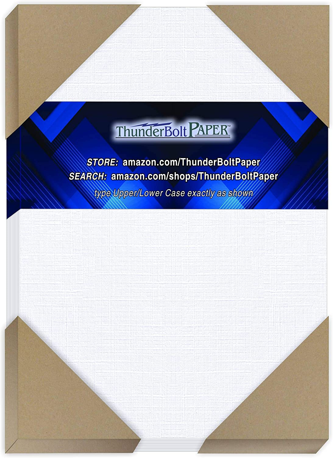 "175 Bright White Linen 80# Cover Paper Sheets - 5"" X 7"" (5X7 Inches) Photo