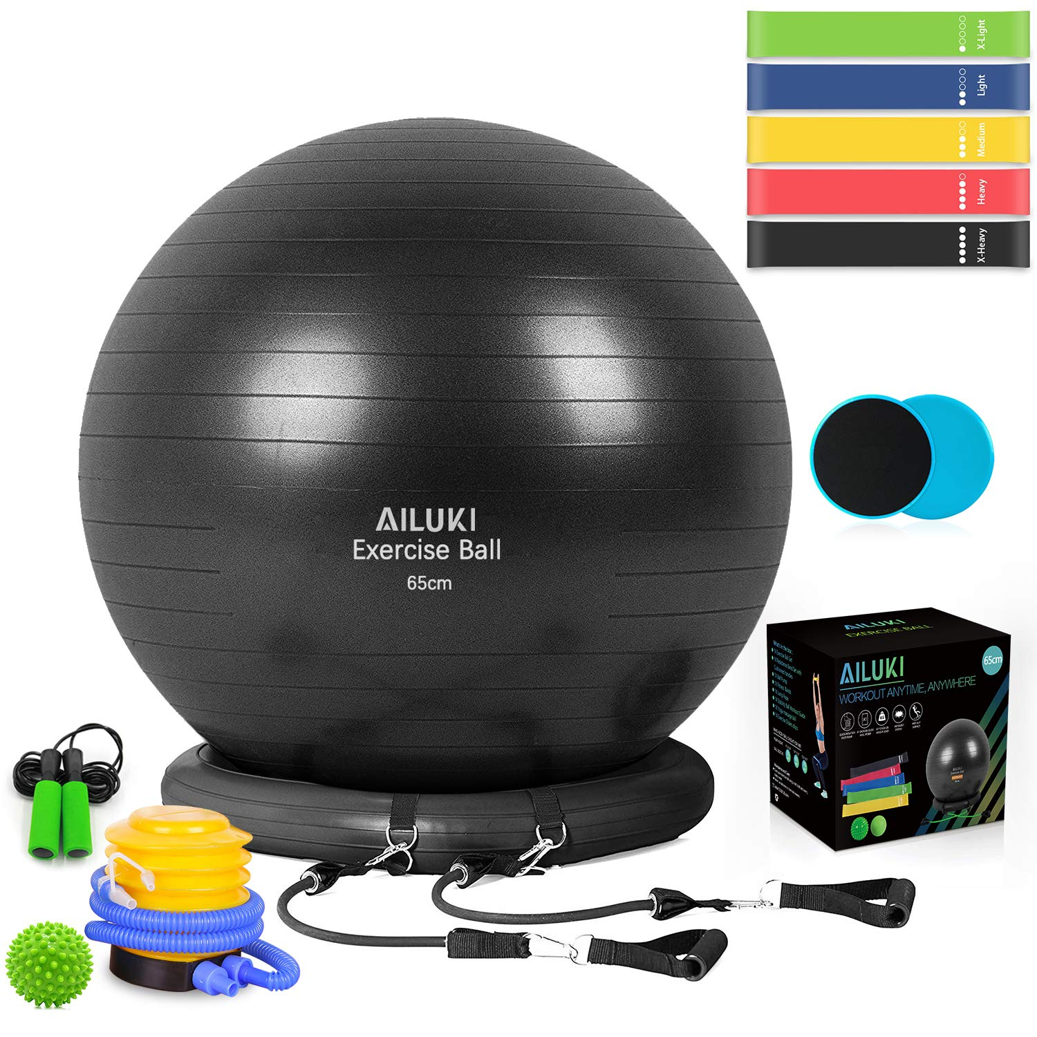 AILUKI Yoga Ball, Exercise Ball Fitness Balls Stability Ball Anti-Slip & Anti- Burst for Yoga,Pilates, Birthing, Balance & Fitness with Workout Guide & Quick Pump by AILUKI